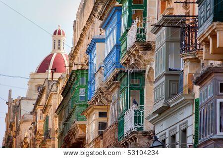 Wooden Balconies Valletta, Malta
