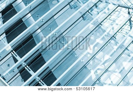 Modern Interior Abstract Fragment With Stairs Made Of Glass