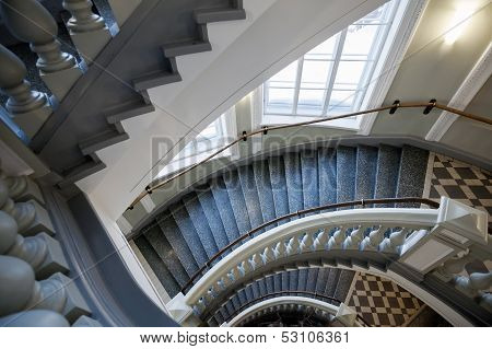 Classic Stairs With Balusters. Abstract Architecture Interior Fragment