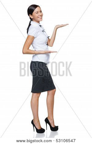 Business woman showing / holding on the palm blank copy space