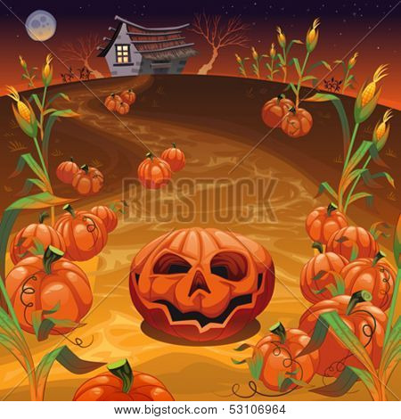 Pumpkins in the field. Funny cartoon and vector Halloween illustration.