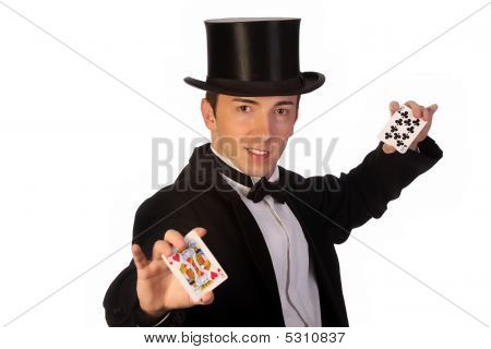 Young Magician Performing With Cards