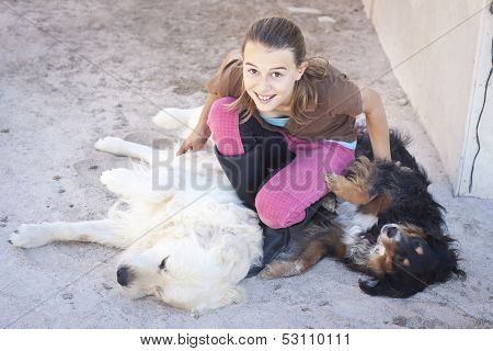 Child With Dogs