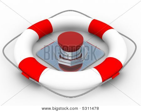 Red Button On A White Background. 3D Image