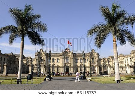Cathedral At Plaza De Armas In Lima, Peru. Is The Birthplace Of T