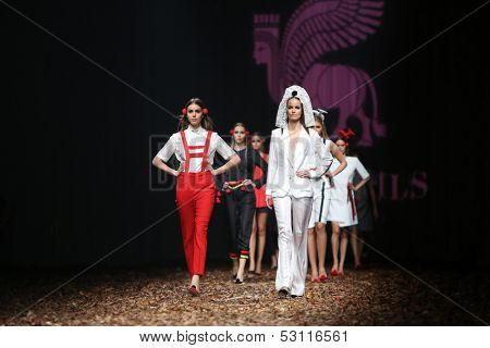 ZAGREB, CROATIA - OCTOBER 25: Fashion models wearing clothes designed by Borna and Fils on the Cro a Porter show on October 25, 2013 in Zagreb, Croatia.