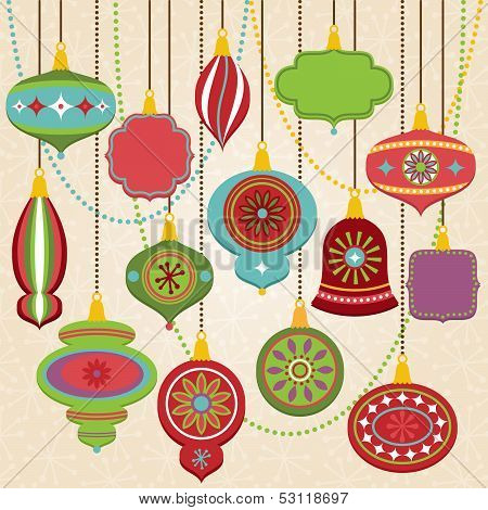 Vector Collection of Retro Christmas Ornaments