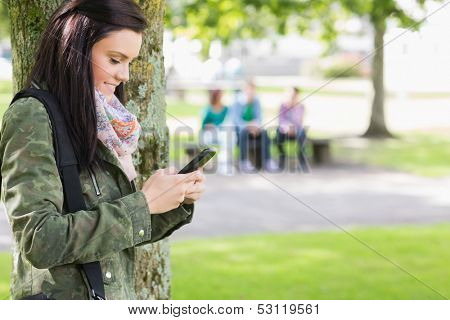 Side view of a college girl text messaging with blurred students sitting in the park