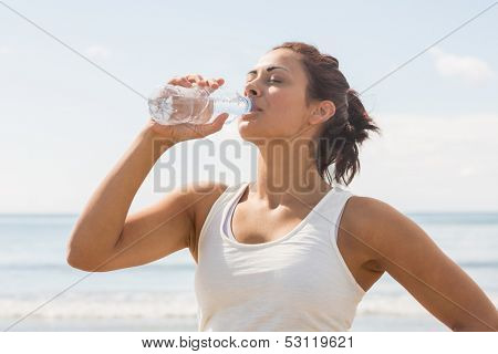 Content beautiful woman drinking of water bottle standing on the beach