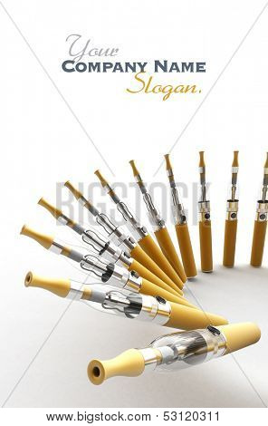 dynamic composition of e-cigarretes with a white background and lots of copy space