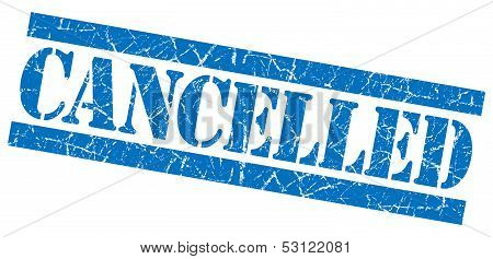 Cancelled Grunge Blue Stamp