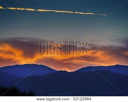Landscape Sunset In Tuscany
