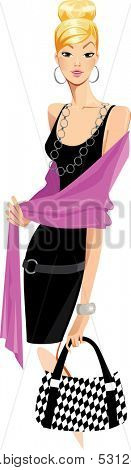 fashion woman in black dress and pink shawl
