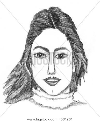 An Illustration Of Natural Kind Of Girl Head Shot In Black & White.