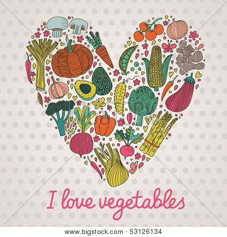I love vegetables. Concept vector heart made of green peas, eggplant, potato, carrot, pumpkin, avocado, leek, corn, radish, pepper, chili, garlic, ginger, asparagus, broccoli, artichoke and others