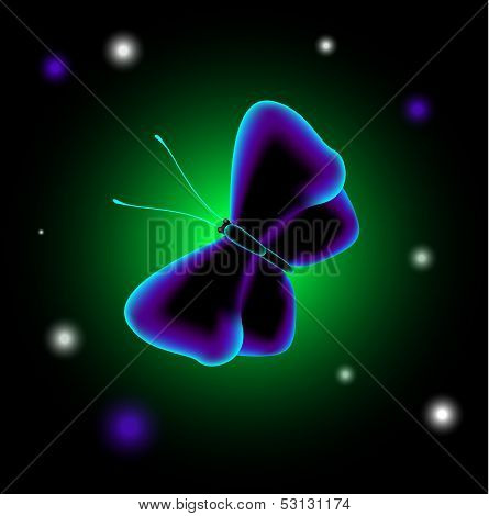 EPS10 vector illustration. Fantastic luminescent butterfly