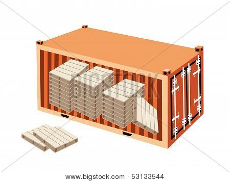 A Stack Of Wood Pallets In Cargo Container