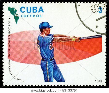 Vintage  Postage Stamp. Baseball. 1983.
