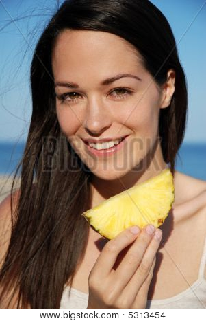 Happy Woman With Pineapple