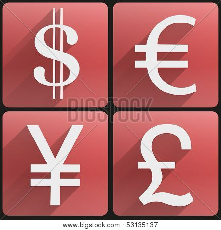 Business flat icons major currencies symbol