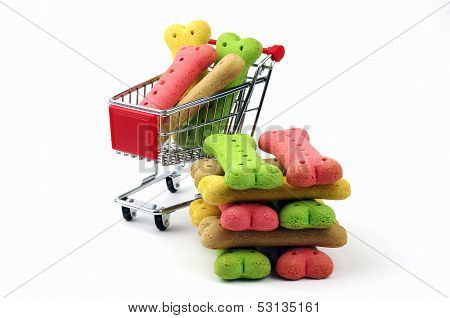 stack of dog biscuits and shopping cart
