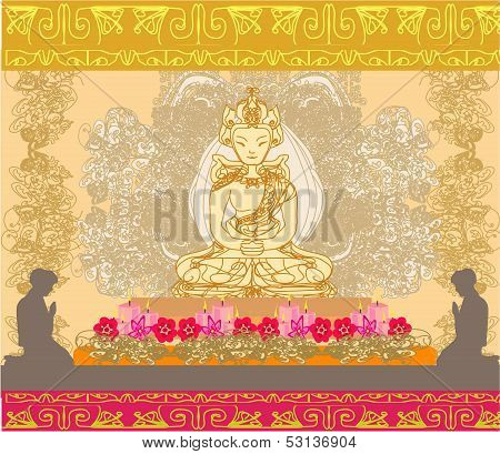 Illustration Of A Buddhist Man Praying In A Temple