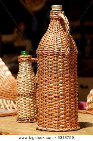 Glass Bottle Covered With Osier