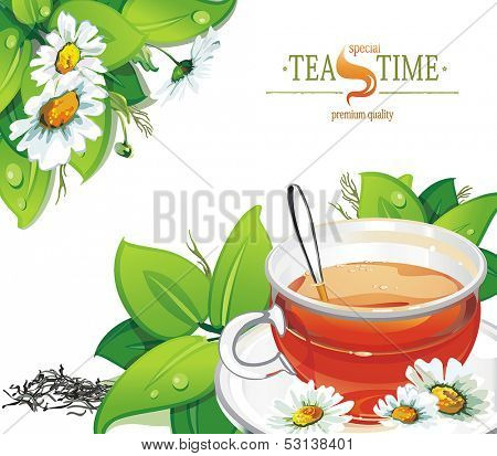 Cup of herbal tea on a white background