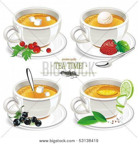 Set of different tea in cups isolated on White Background