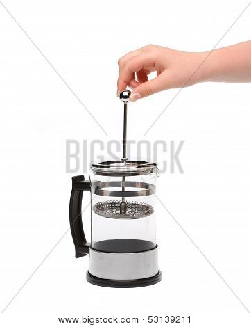 French Press Coffee or Teapot with a Hand