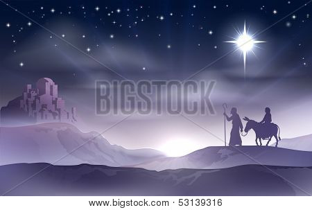 Mary And Joseph Nativity Christmas Illustration