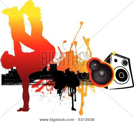 urban illustration of music and breakdancer on london city skyline