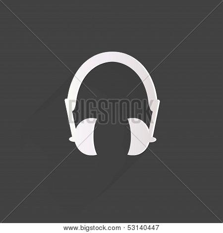 Headphones web icon, flat design
