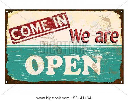 Shop Open Enamel Sign