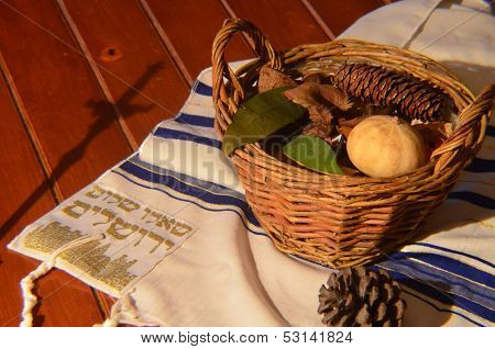 Bible basket and cross shadow