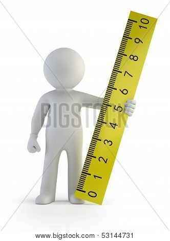 3D Small People - Ruler In Hand