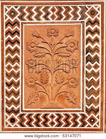 Details of polished sandstone surface. Taj Mahal, Agra, India.