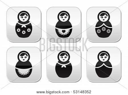 Russian doll, retro matrioshka vector buttons set