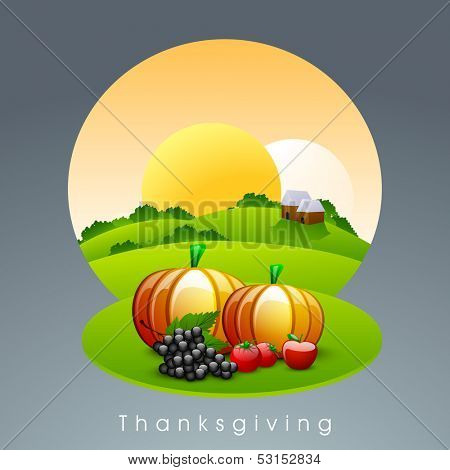 Creative Happy Thanksgiving Day morning background with fruits and vegetables.