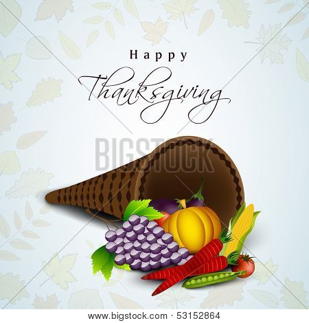 Happy Thanksgiving Day concept with fruits, vegetables on maple leaves seamless background.