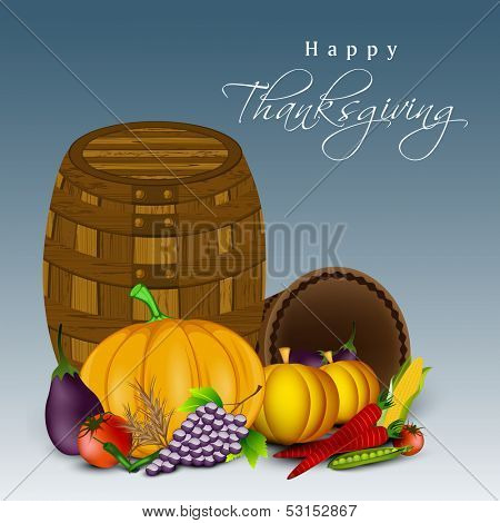 Happy Thanksgiving Day celebration concept with fruits, vegetables and empty wooden basket on blue background.