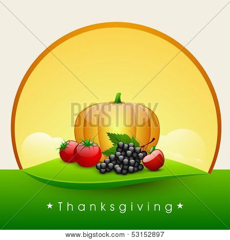 Happy Thanksgiving Day background with fruits and vegetables.