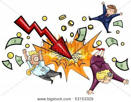 Crash Of Economic Downturn, Kill All Businesspeople In Isolation (vector)