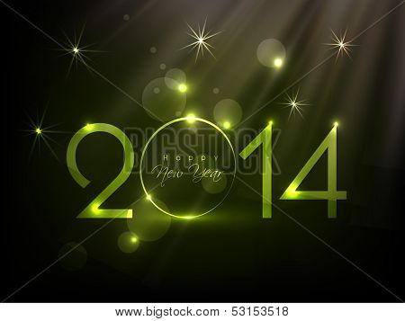 Happy New Year 2014 celebration background with shiny green text, can be use as flyer, banner or poster.