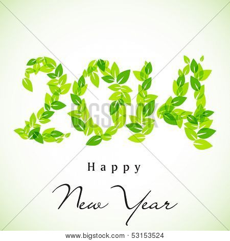 Happy New Year, go green background with 2014 text made by green leaves, can be use as flyer, banner or poster.