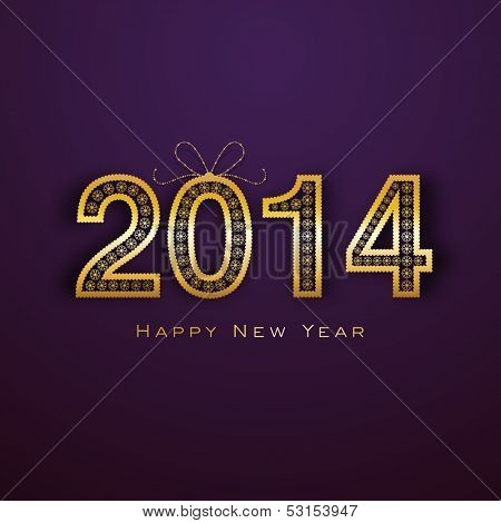 Happy New Year 2014 celebration concept with golden text on purple background, can be use as banner, flyer or poster.
