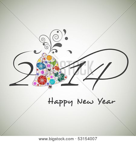Happy New Year 2014 celebration background with stylish text and floral decorated gift box on grey background.