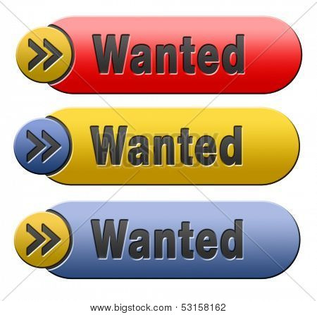 most wanted button want help icon or banner in red blue and yellow