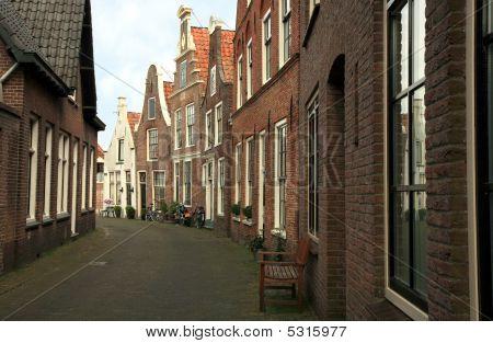 Sloping Houses In Blokzijl, Netherlands.