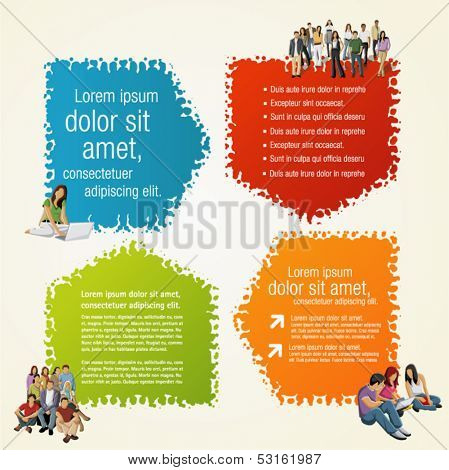 Colorful arrow template for advertising brochure with people